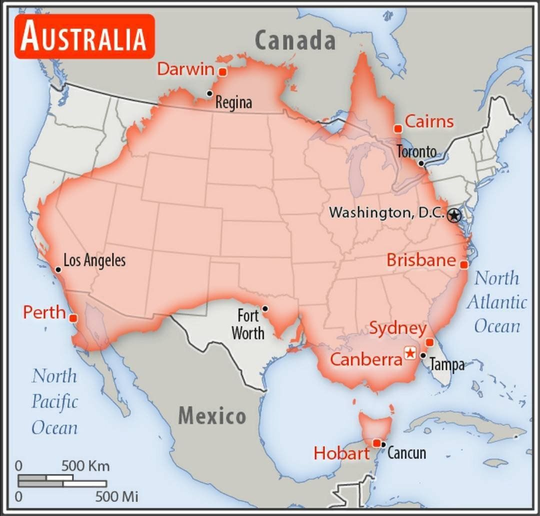 Size Comparison Between Australia And