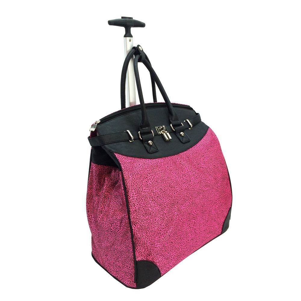 Fuchsia leopard print combines with black faux leather for a unique look. Complete with double rolled handles, the lightweight handle makes for easy mobility.