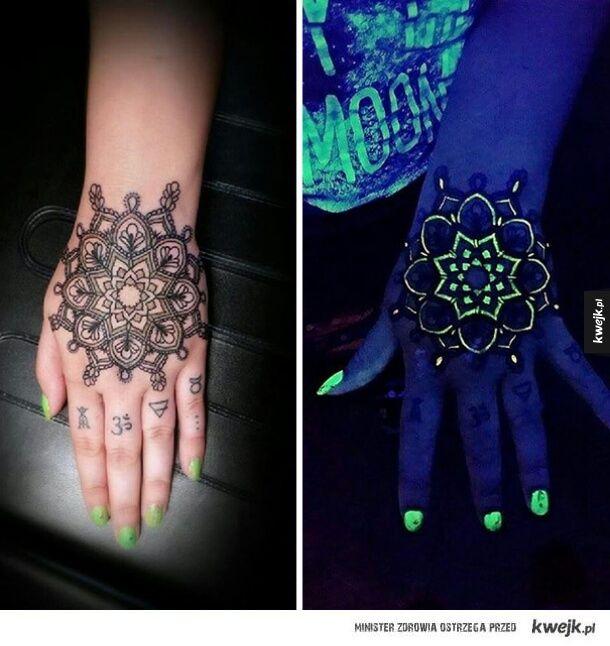 Mandala Flower Daylight And Uv Light Tattoo On Hand For Girls