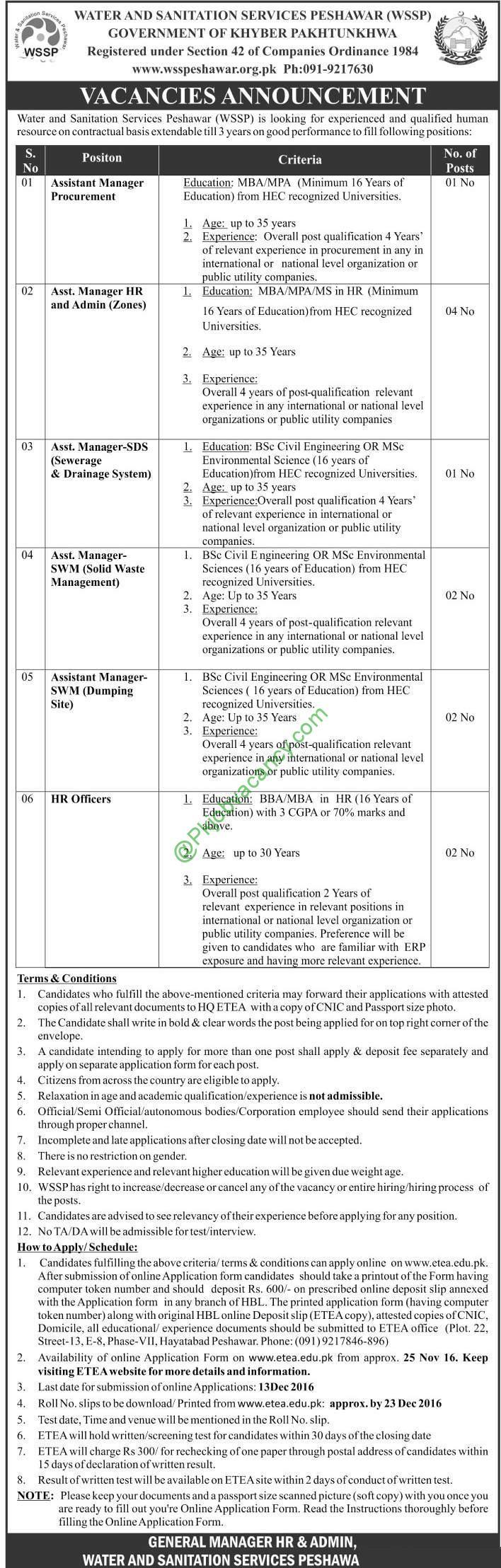 Water And Sanitation Services Peshawar WSSP Jobs November 2016 Apply ...