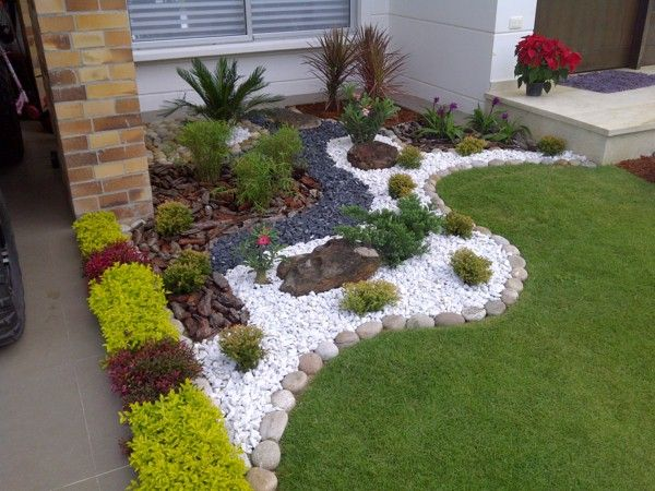 Garden Design Ideas Green Gr Round Stone Plamen Plfanzen Pebbles Outside Yard Pinterest Landscaping And