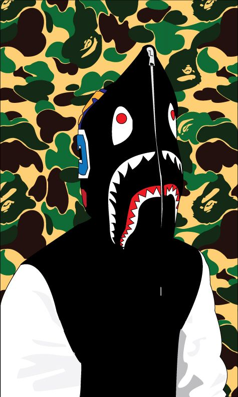 Bape hoodie swag bape wallpapers wallpaper art - Camo shark wallpaper ...