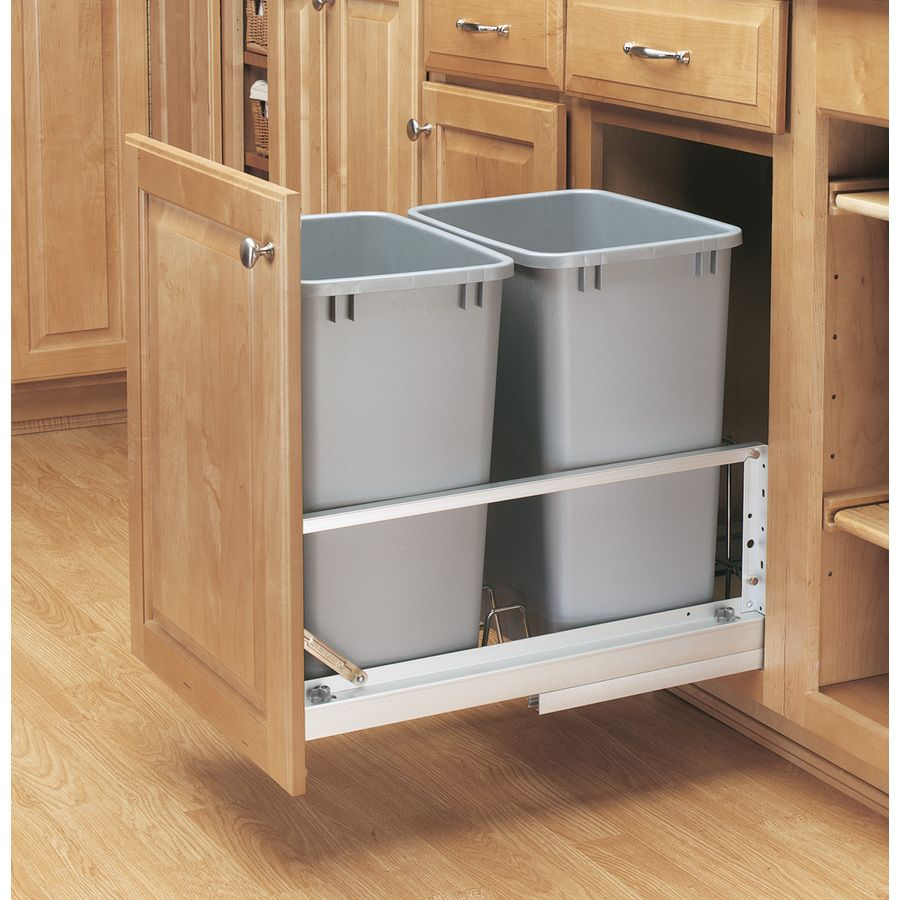Lowes Kit Rev A Shelf 35 Quart Plastic Pull Out Trash Can