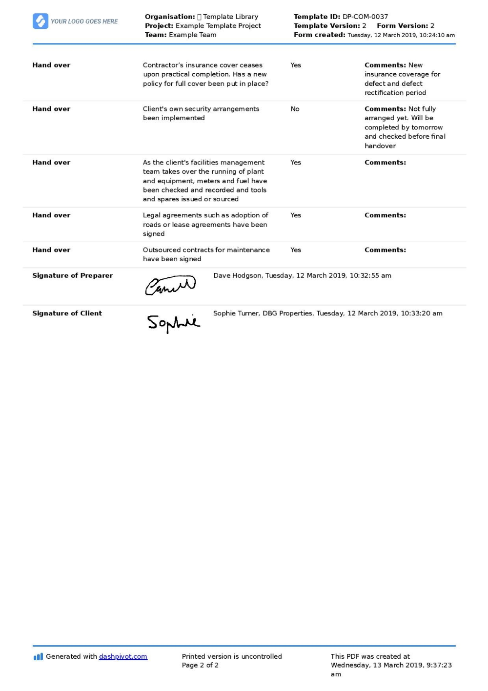 Construction Project Handover Document Sample To Use Or