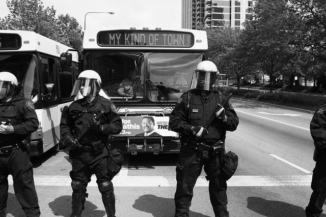 At The Nato Protests In Chicago Perfectly Timed Photos Chicago History Photo