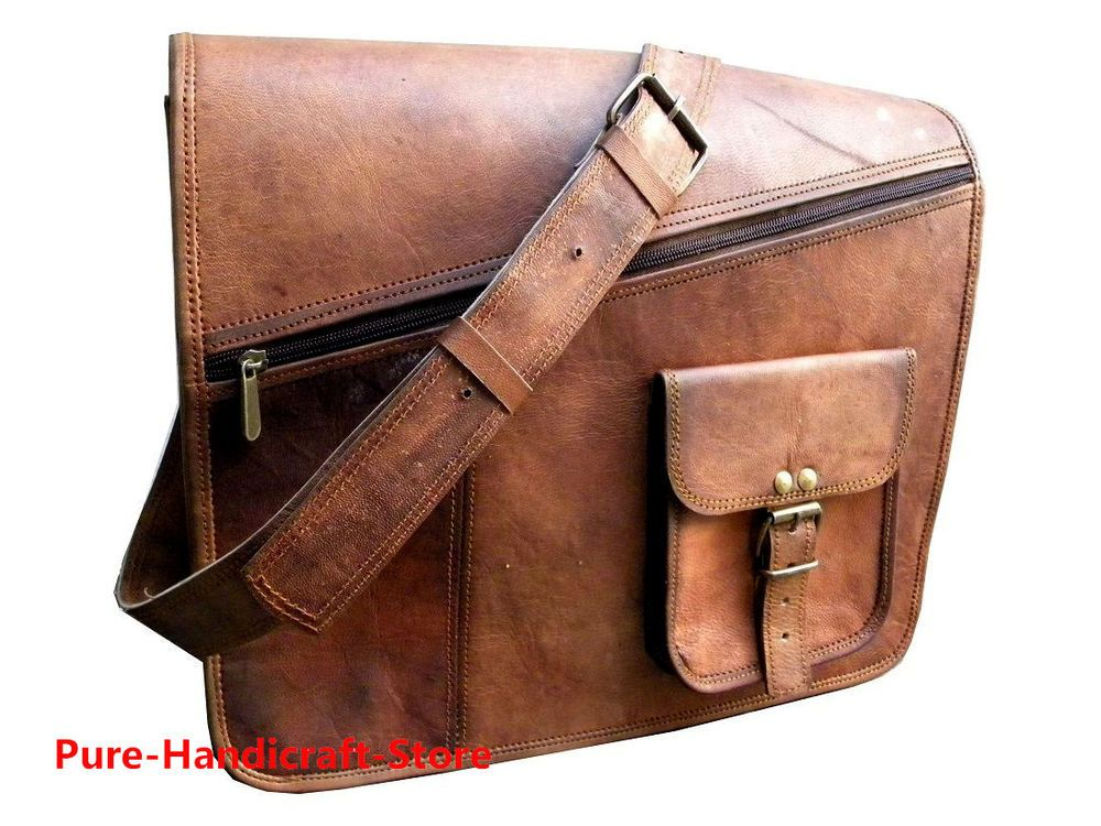 afc4e965f Vintage goat real leather messenger satchel bag genuine laptop brown  briefcase #fashion #clothing #shoes #accessories #mensaccessories #bags  (ebay link)