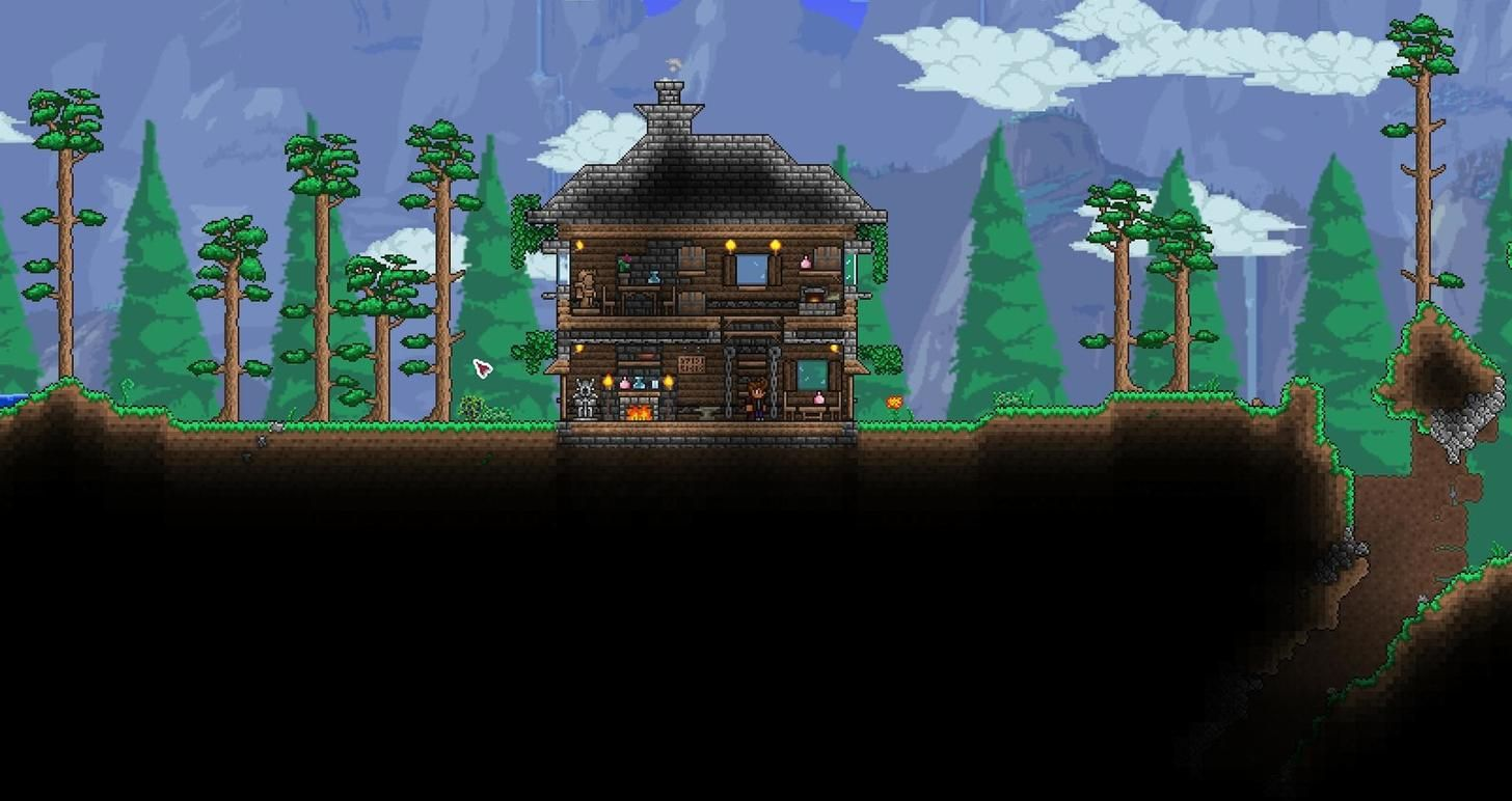 Starter houses get in my terraria pinterest for Terraria house designs