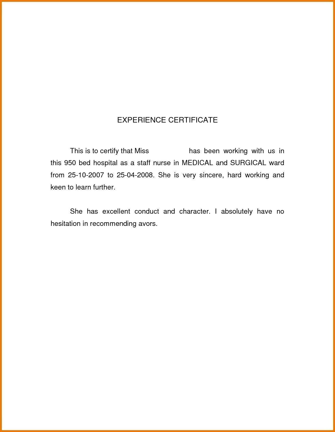 Job Experience Letter Sample