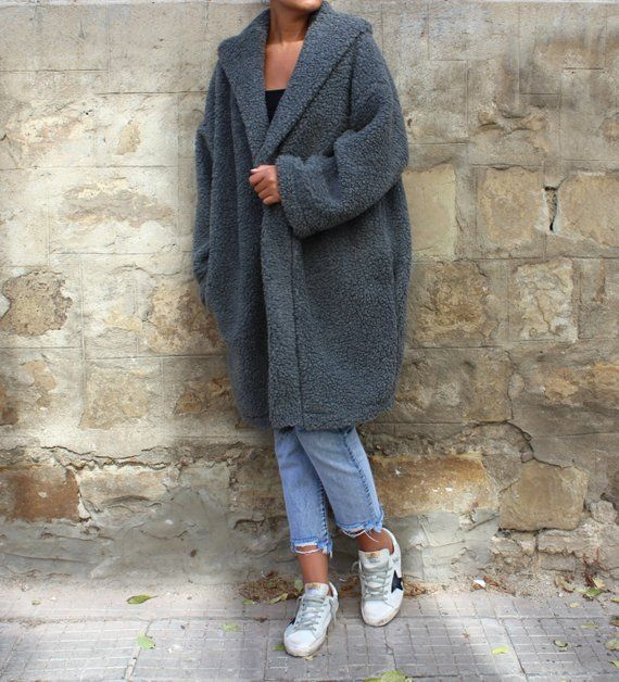 f29141fba44 Oversized coat  Wool Coat  Grey coat  Belted Coat  Plus Size Coat  Womens  Coat  Cardigan Coat