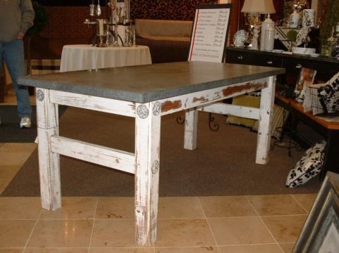 Zinc Topped Farm Table. For Kitchen Or Craft Room