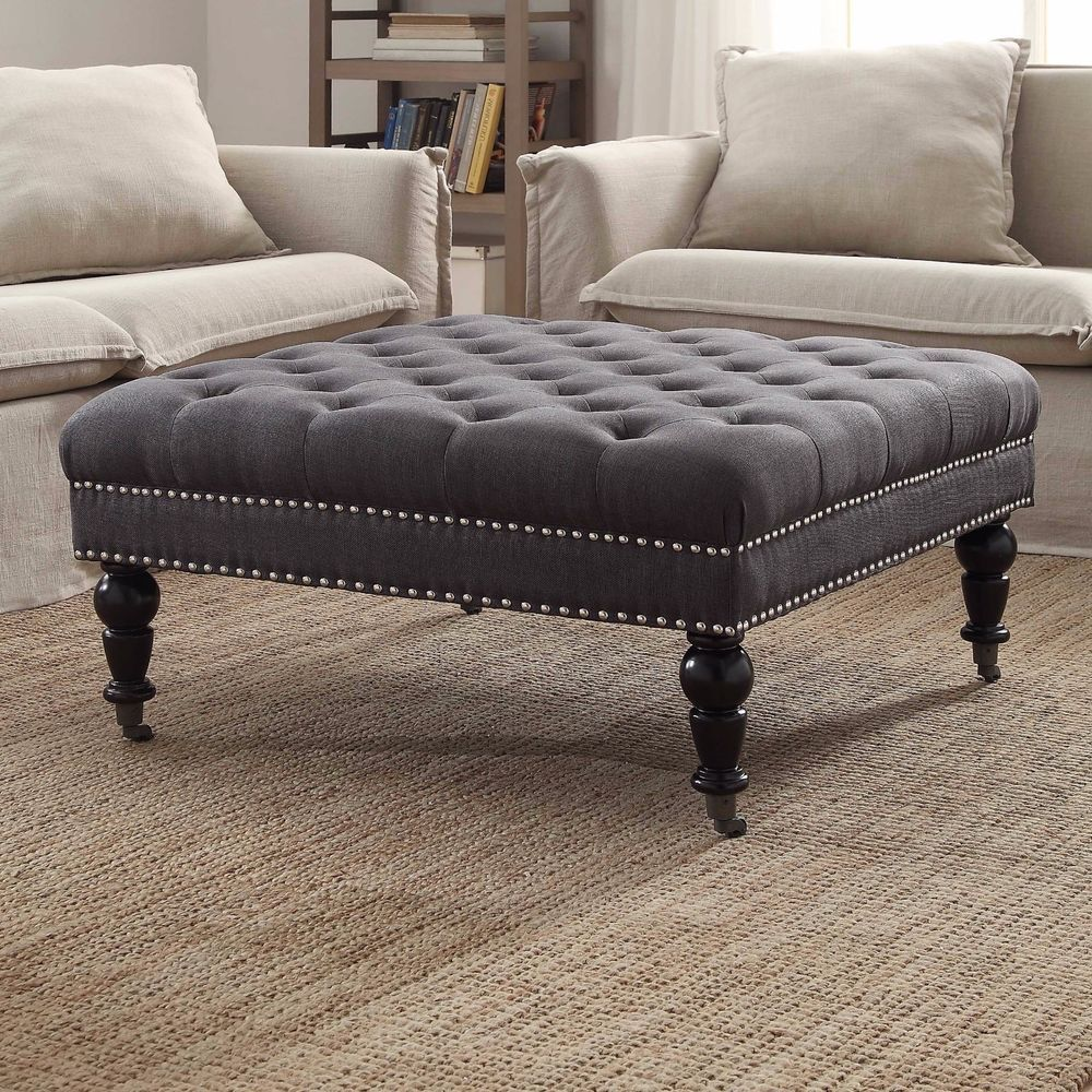 Fabulous Tufted Ottoman Linen Square Upholstered Bench Furniture Caraccident5 Cool Chair Designs And Ideas Caraccident5Info