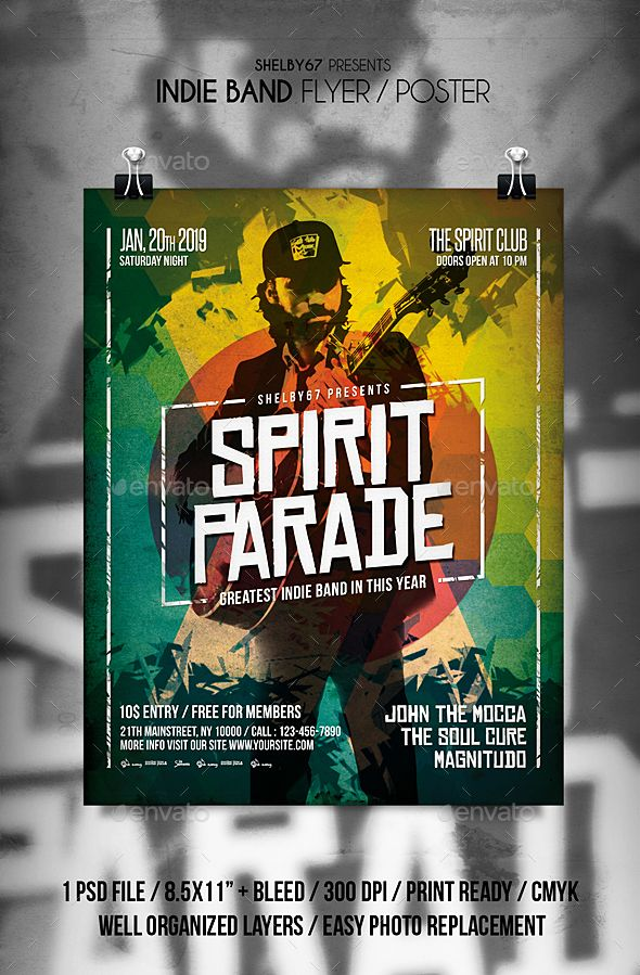Indie Band Flyer / Poster. Fully editable flyer template. #flyer #design #printDesign #template #alternative #band #BandEvent #club #concert #event #EventFlyer #festival #gig #grunge #indie #IndieBand #IndieMusic #music #party #post #PrintTemplate #rock #RockBand #RockFlyer #RockMusic #typography #urban