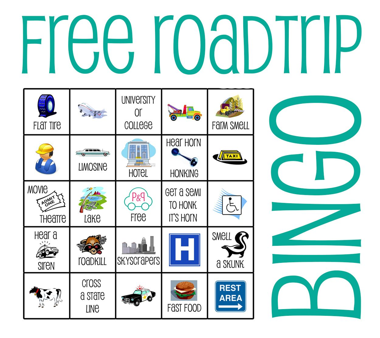 Free Bingo Cards A Fun Family Game For The Car The Pin