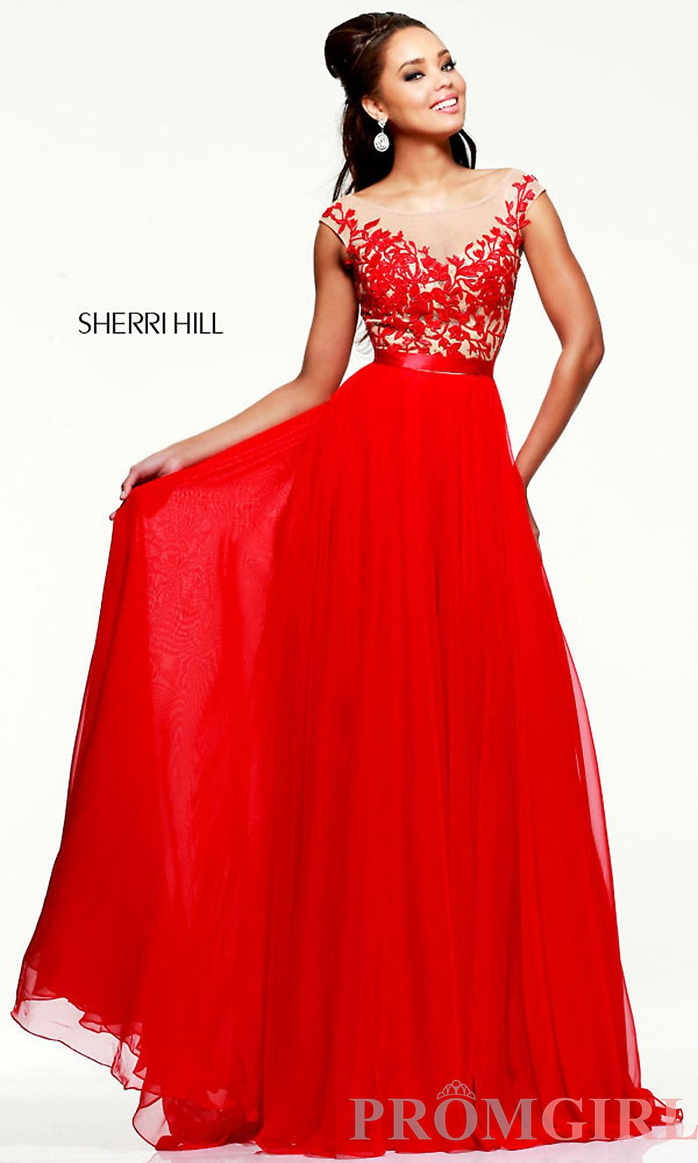 Red Evening Gown, Sherri Hill Long Red Dress- PromGirl ...
