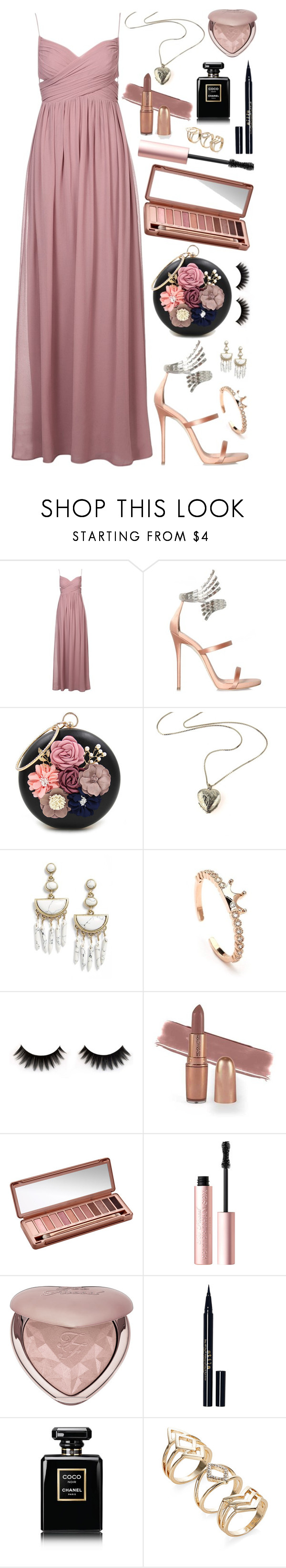 """Swings and roundabouts"" by tigerlily789 ❤ liked on Polyvore featuring Giuseppe Zanotti, WithChic, BaubleBar, Urban Decay, Too Faced Cosmetics, Stila and Chanel"