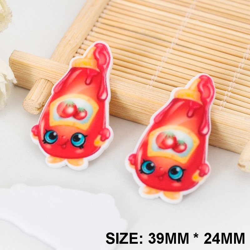 50pcs/lot New Kawaii Cartoon Shopkins Flatback Resins DIY Resin Crafts Planar Resin for Home Decoration Accessories DL-456