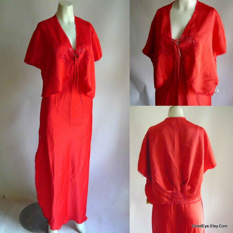 Vintage dvf red slip night gown and bed jacket set pc size medium