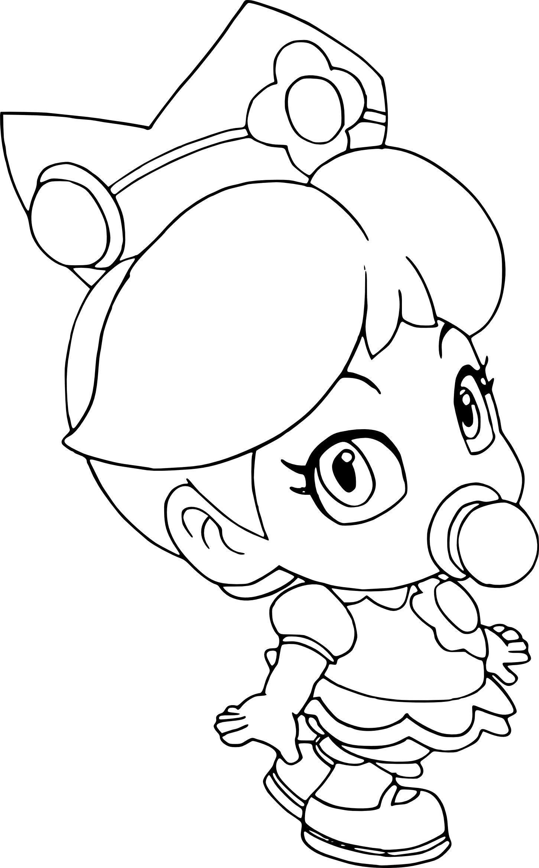 Baby Rosalina Peach Daisy And Rosalina As Babies Coloring Page Mario Coloring Pages Animal Coloring Pages Minion Coloring Pages