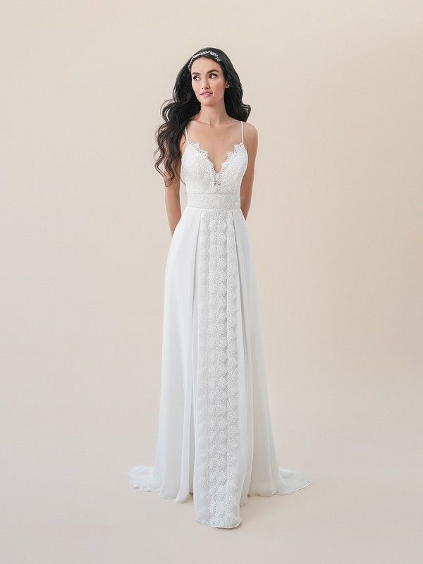 4981aeaa82ea Moonlight Tango T830B bohemian vintage lace A-line wedding dress with chiffon  skirt overlay #wedding #bride #weddingdress #beachwedding #lace # ...