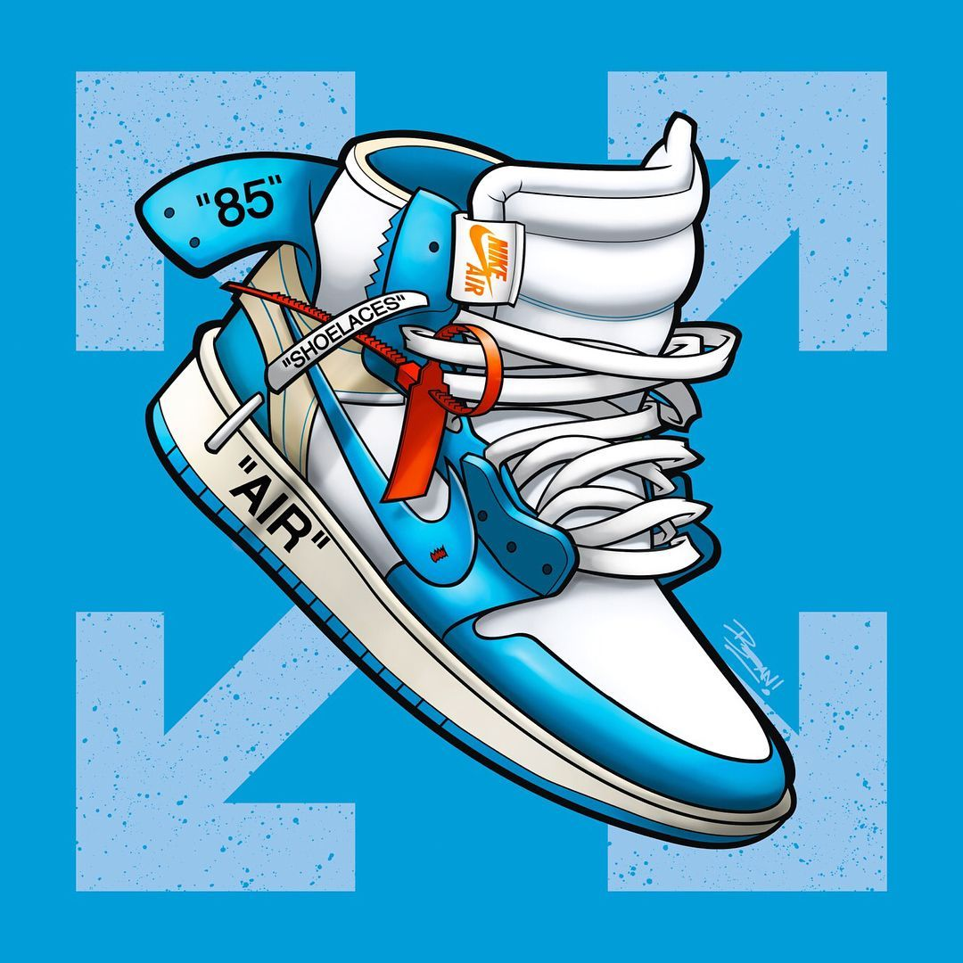 Off White X Air Jordan 1 Unc Blue In 2020 Shoes Wallpaper Sneakers Wallpaper Nike Art