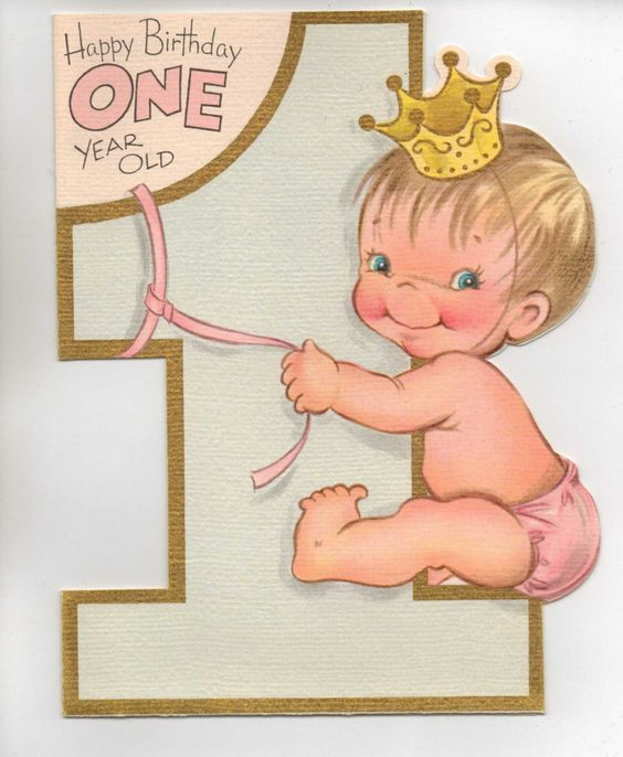 1950s Happy Birthday One Year Old Ryann S Vintage Princess Party Old Birthday Cards Happy Birthday 1 Year Birthday Card Messages