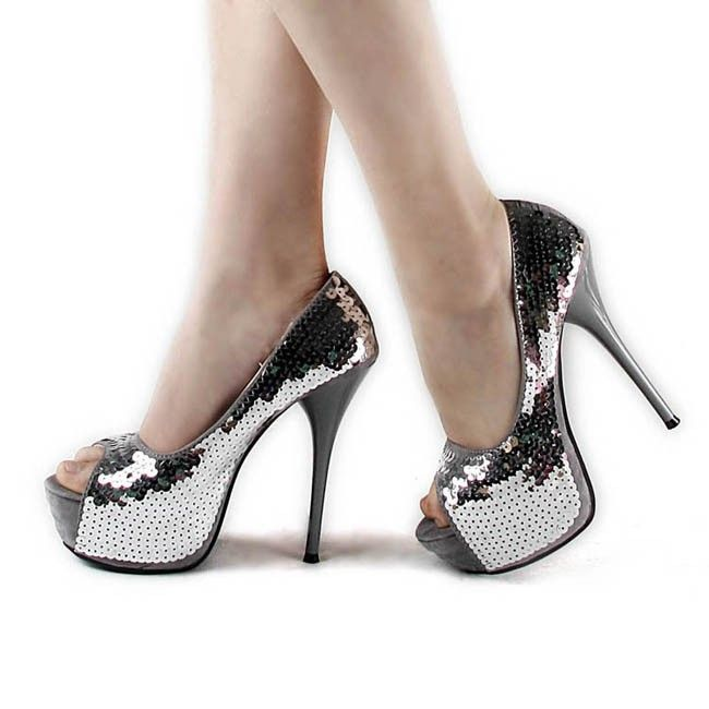 high heels  Peep Toe High Heel Platform Sequins Silver Cheap