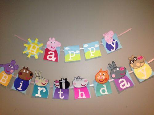 Handmade happy birthday peppa pig banner peppa pig party