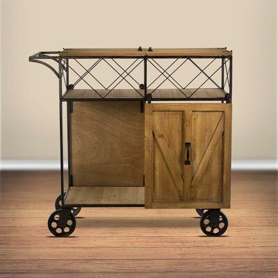 Gracie Oaks Josiahs Rustic Barn Door Rolling Bar Cart In