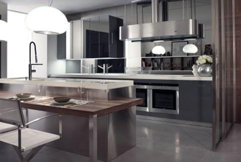 Isola polifunzionale con ante in acciaio e piano snack in noce canaletto longline la cucina for Piano snack cucina