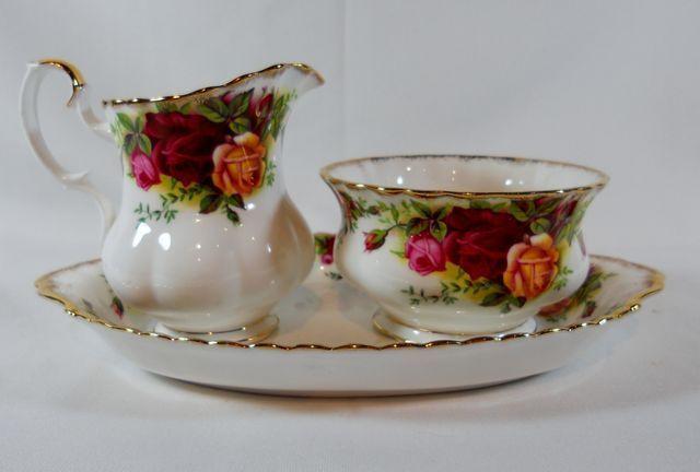 Royal Albert Old Country Creamer/Open Sugar Bowl and Tray Set #RoyalAlbert