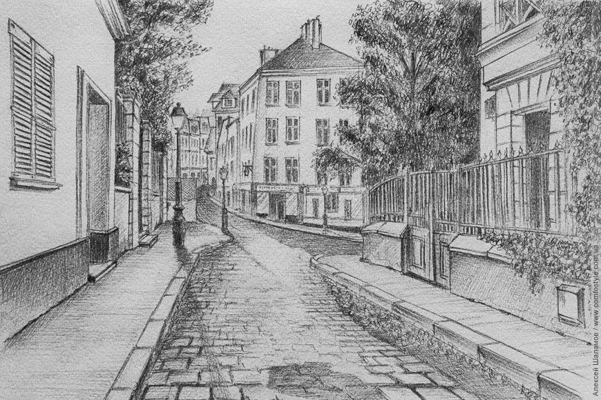 Картинки карандашом города легкие