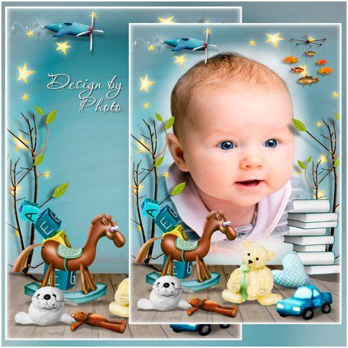 Children Photo Frame Psd Template With Children S Toys Download