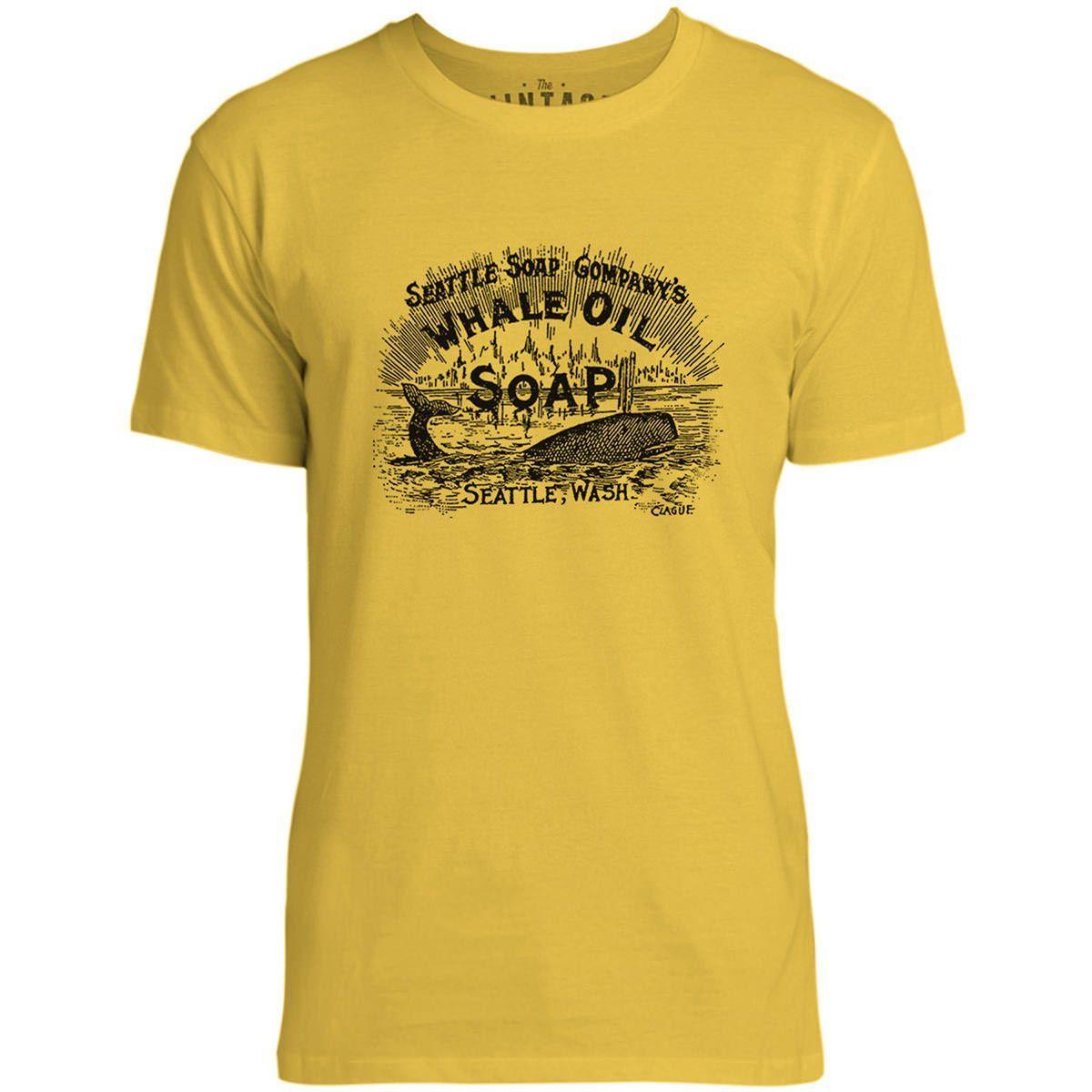 Mintage Whale Oil Soap Vintage Advert Mens Fine Jersey T-Shirt (Lemon)