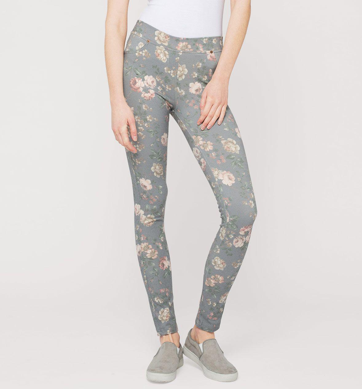 2019 echt neue Liste überlegene Materialien Damen Print-Treggings in grau - Mode günstig online kaufen ...