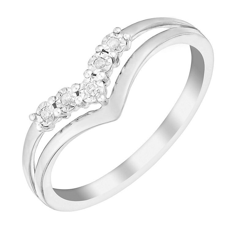 9ct White Gold Wishbone V Shaped Diamond Eternity Ring Diamond