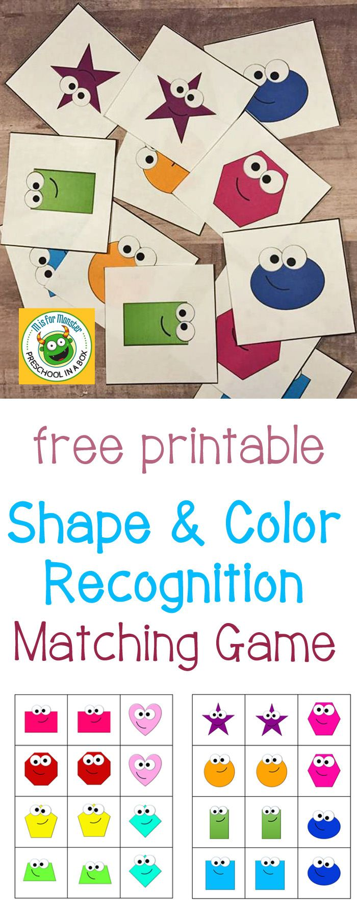 Shape and Color Recognition Matching Game Free Printable | Pinterest ...