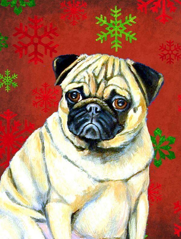 Pug Red And Green Snowflakes Holiday Christmas Flag Garden Size