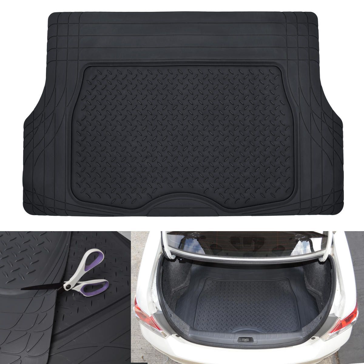 Motor Trend Flex Liner Cargo Trunk Mat Thick Heavy Duty Rubber Trimmable For Custom Fit Auto Suv Car Van Trunk Liner Cargo Mat Cargo Liner