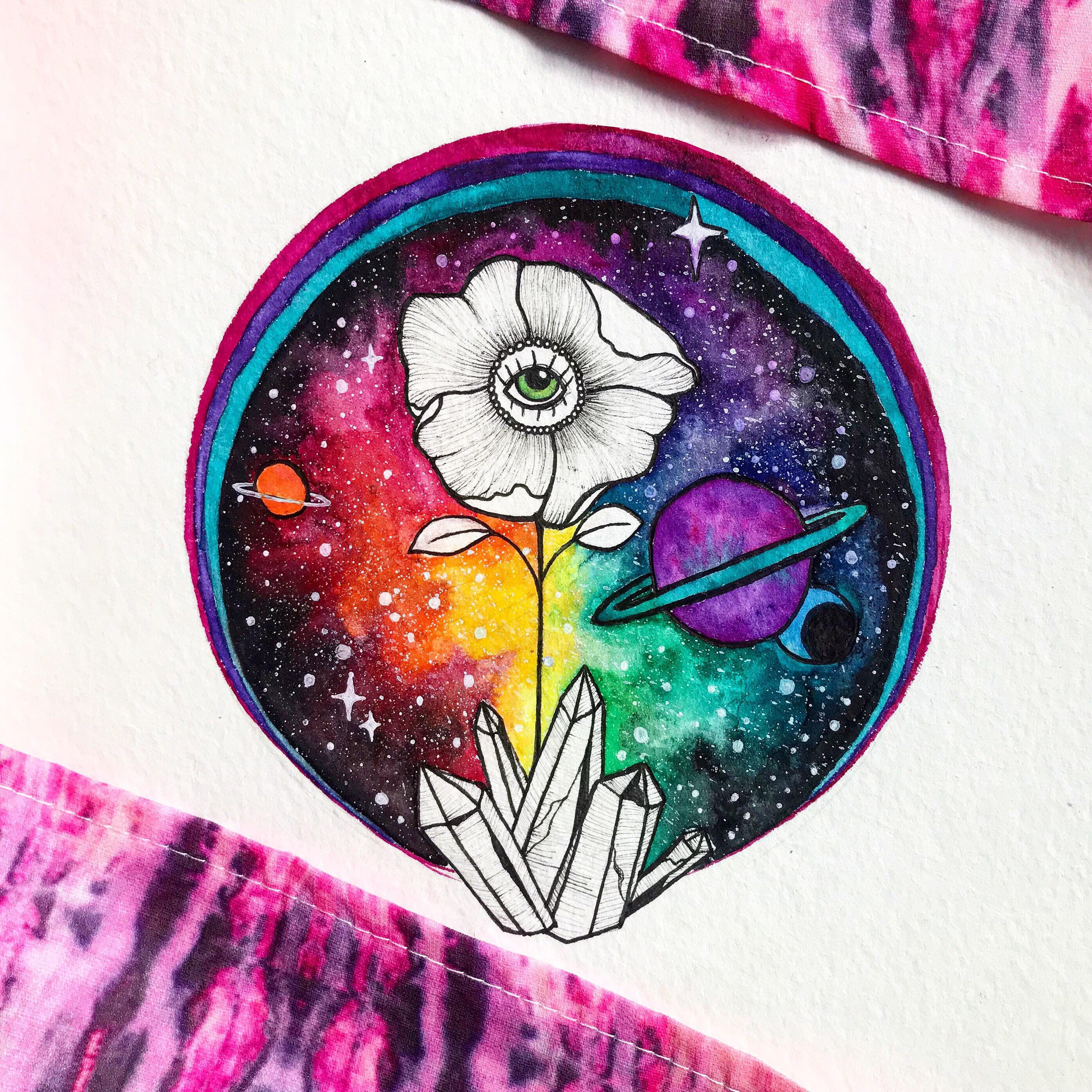 All Seeing Eye Flower Poppy Crystals Rainbow Galaxy ...