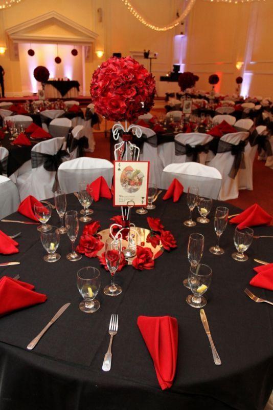 red black and white alice in wonderland wedding wedding