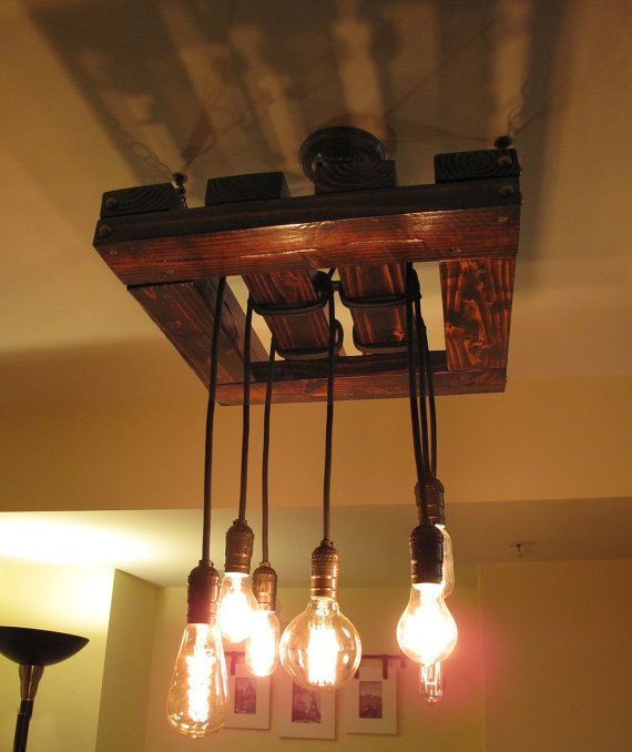 Edison Bulb Chandelier Beautiful Rustic Wood Light Fixture Hand Made Restaurant Ceiling Custom Orders Available