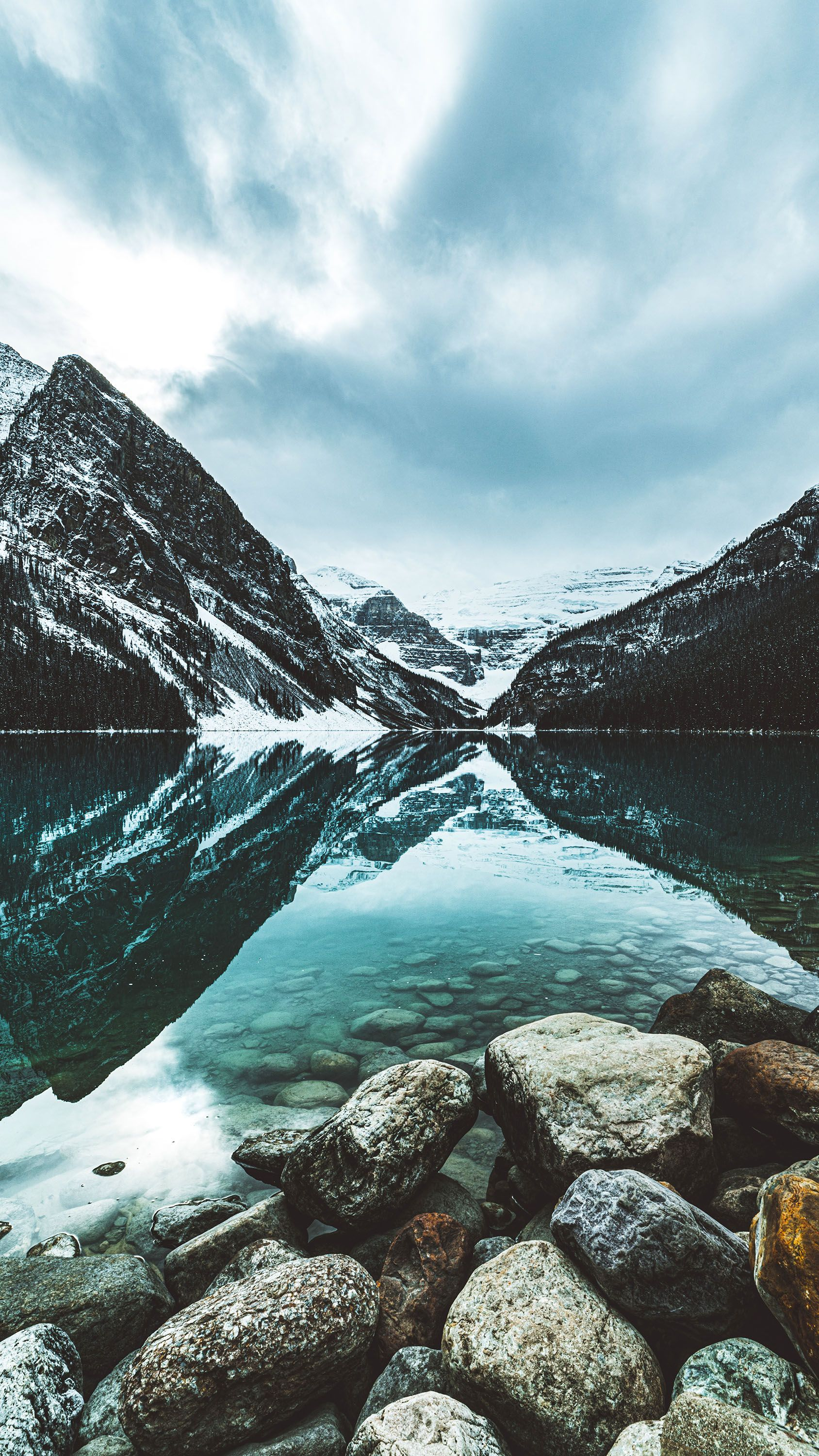 Rocks Mountains Lake Water Snow Reflection Photooftheday