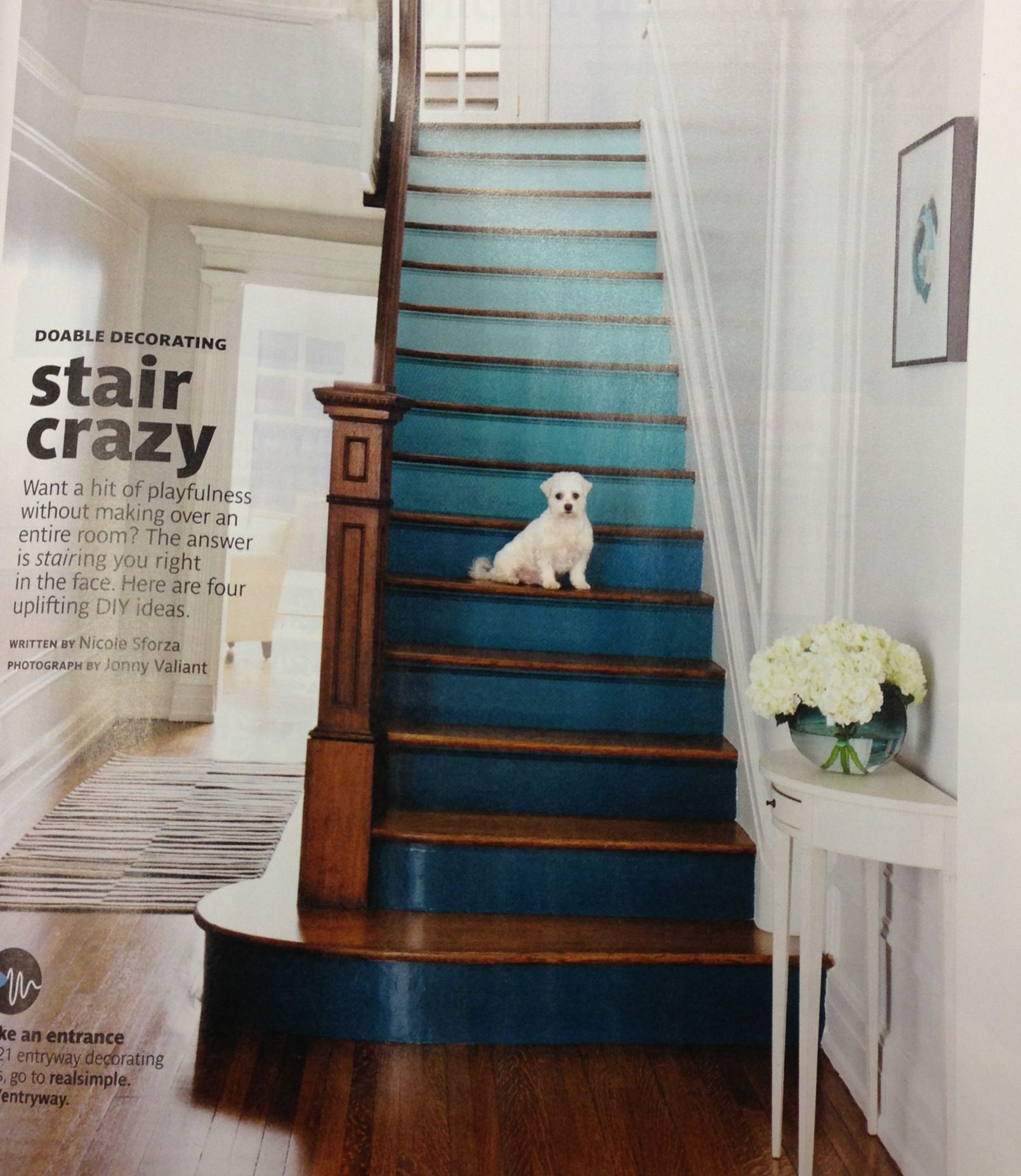 Wood Stairs Painted Risers: Ombré Painted Stair Risers And Natural Wood Steps/banister