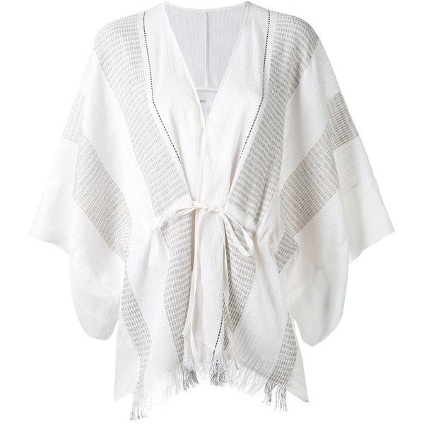 Gentry Portofino fringed kimono jacket (€240) ❤ liked on Polyvore featuring outerwear, jackets, white, white fringe kimono, kimono jacket, white kimono, white kimono jacket and fringed kimono jacket
