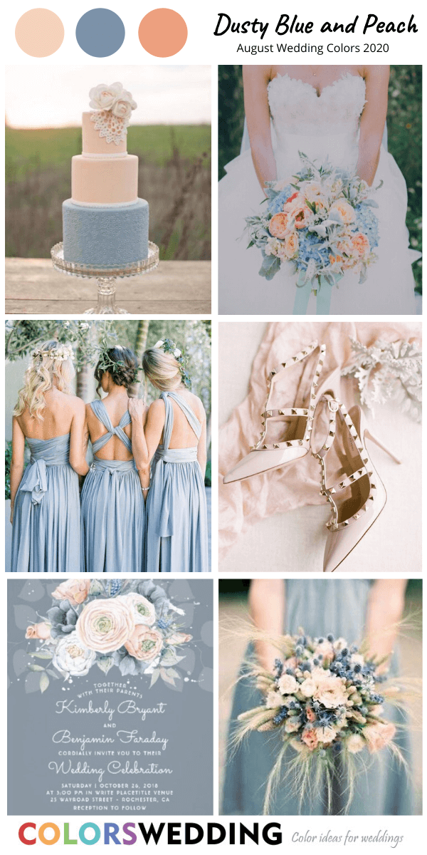 8 Great August Wedding Color Combos For 2020 In 2020 August Wedding Colors Blue Peach Wedding Pastel Blue Wedding