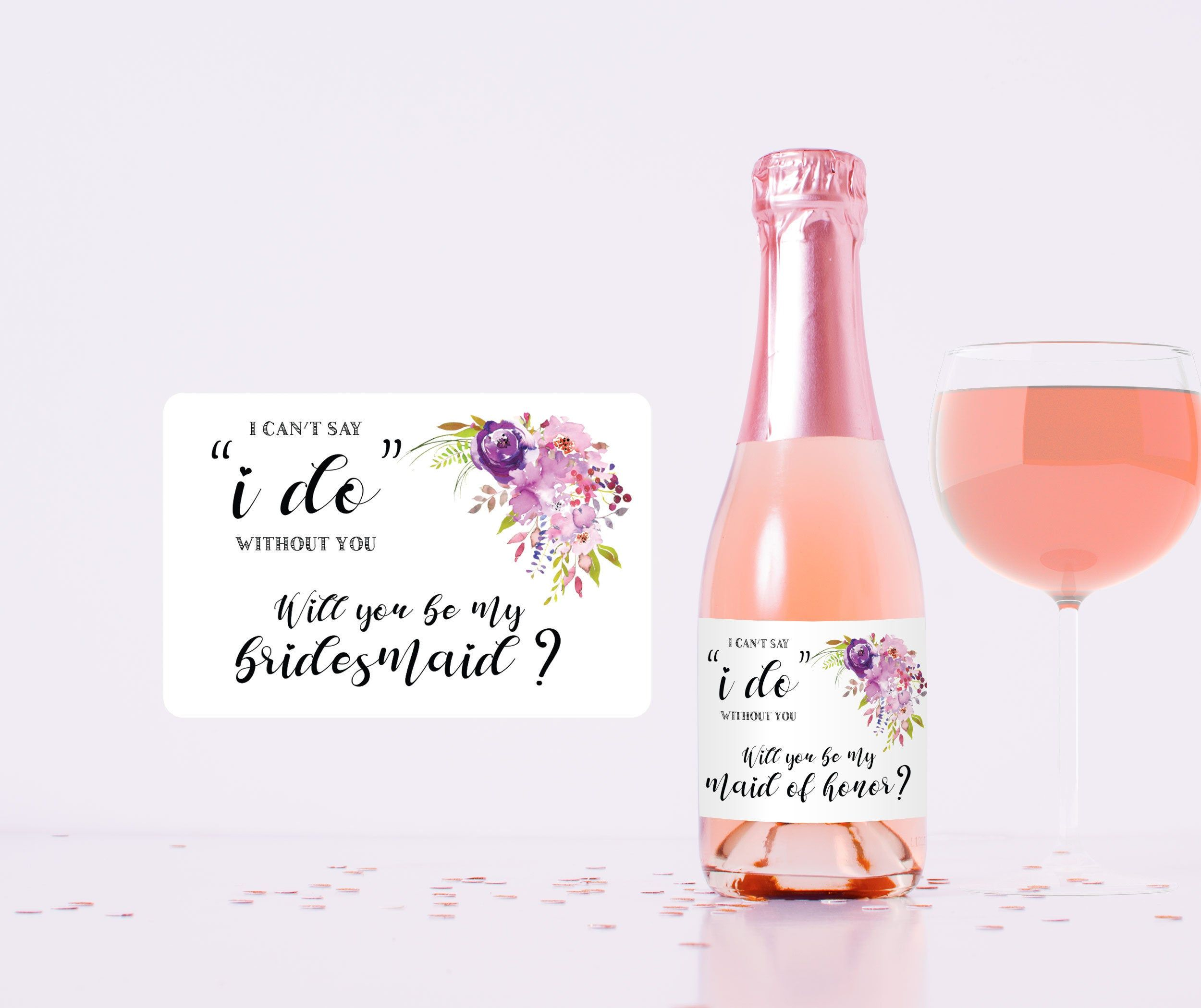Will you be my bridesmaid mini wine champagne label Etsy