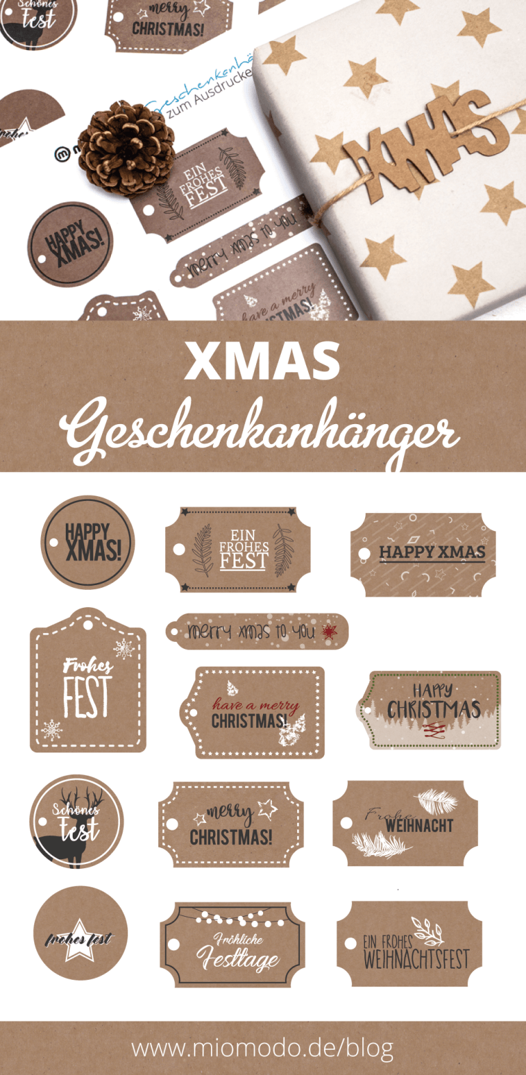 Geschenkanhänger basteln für Weihnachten | miomodo DIY Blog#basteln #blog #diy #für #geschenkanhanger #miomodo #weihnachten