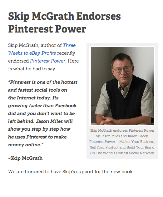 Skip Mcgrath Author Of 3 Weeks To Ebay Profits Recently Endorsed Pinterest Power A New Book By Jason Miles Pinterest Power Social Media Pinterest Social Tool