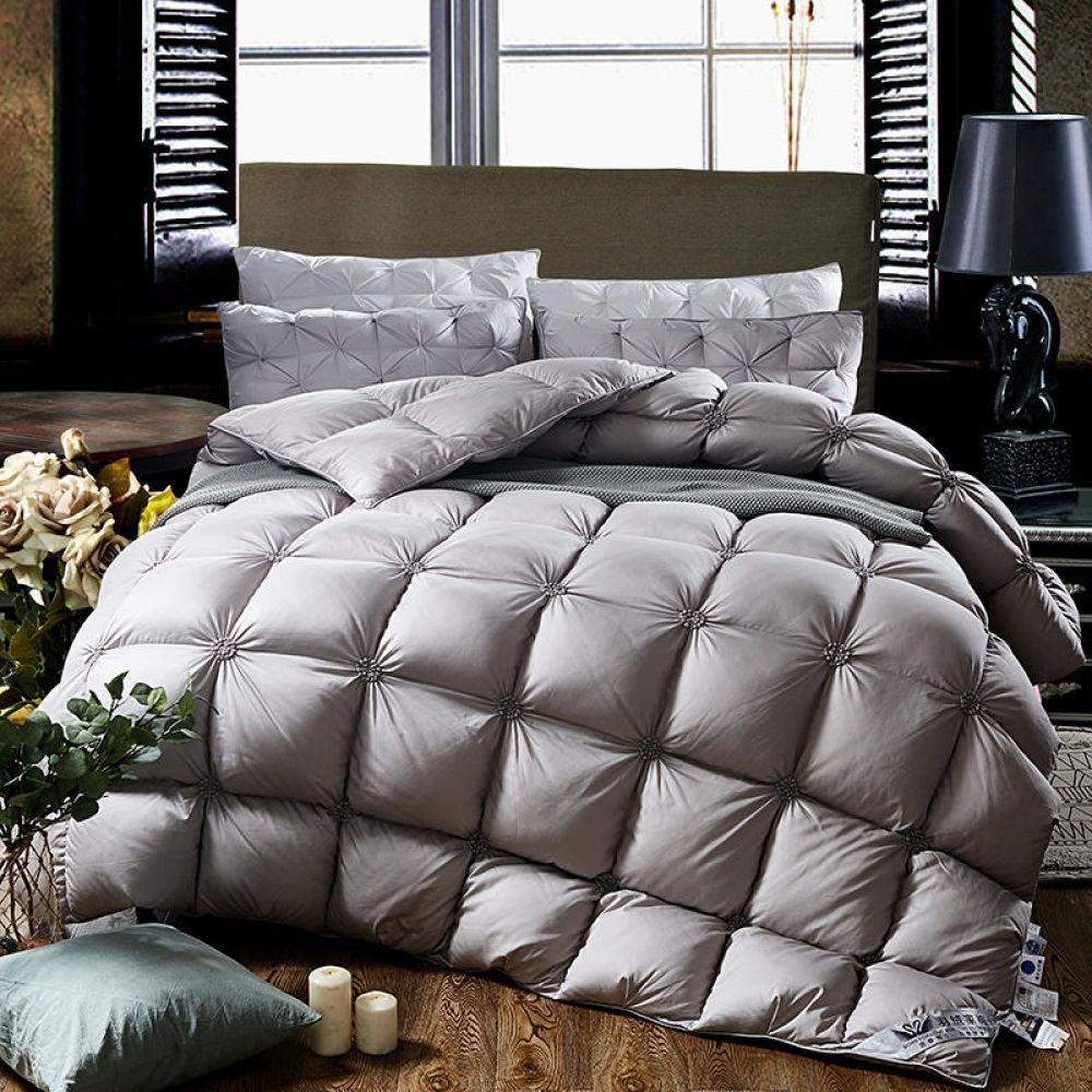 White Grey Comforter Bedding set 100%Goose Down - FREE SHIPPING