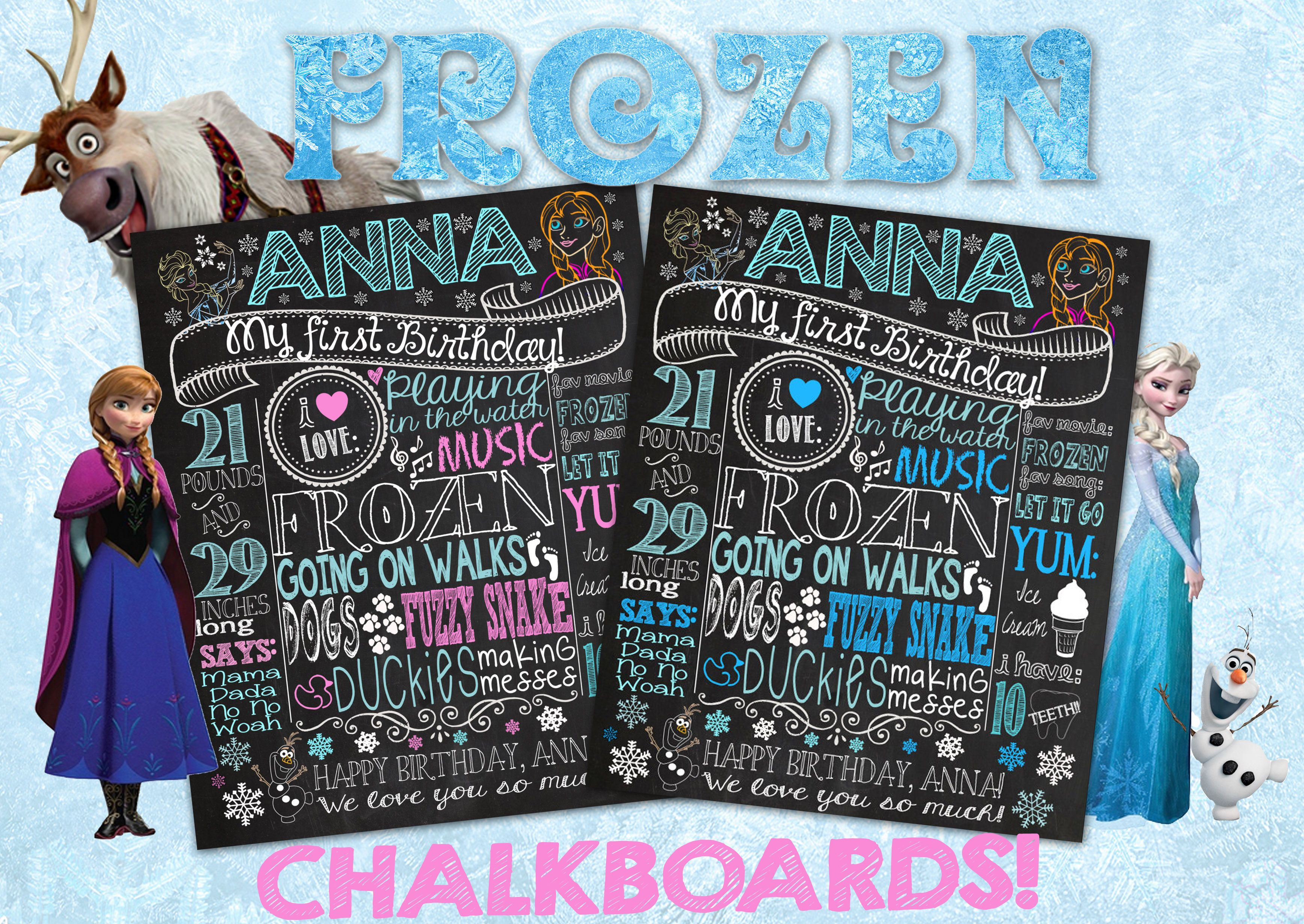 FROZEN Birthday Chalkboard Poster Sign for First Birthday Party